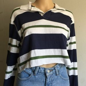 b393f53cee003b Vintage Tops - Cropped Collared Long Sleeve Shirt